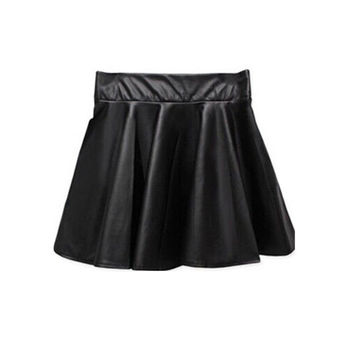 New Women Ladies Faux Leather High Waist Skater Flared Pleated Short Mini Skirt LE2 SM6