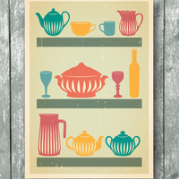 Kitchen print poster, Mid century art, Wall decor for kitchen in retro style A4 or A3 size