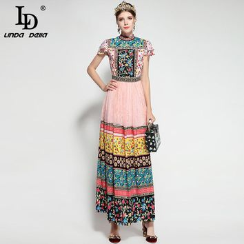 LD LINDA DELLA 2018 Runway Maxi Dress Women's Short Sleeve Elegant Floral Print Beading Mesh Lace Patchwork Vintage Long Dress