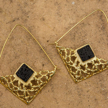 Black and Gold Earrings 24k Gold Plated, Large Hoop Earrings, Lava Earrings, Triangle Earrings, Statement Earrings, Bohemian Chic