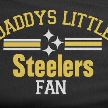 Black Custom 2 Color Daddys Little Pittsburgh Steelers Fan College Football Tee Tshirt T-Shirt
