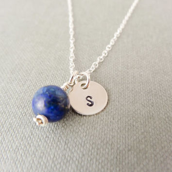 Silver initial necklace, gemstone necklace, personalised lapis lazuli necklace, personalised necklace, bridesmaid thank you, blue sparkle