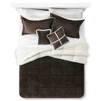 Solid Velvet with Sherpa Reverse Comforter Set (Queen) 5-Piece - Khaki : Target