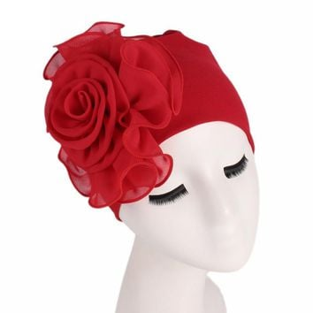 Women New Flower Solid Stretchy Beanie Turban Bonnet Chemo Cap For Cancer Patients Ladies Bandanas African Head Wrap 6Q1916