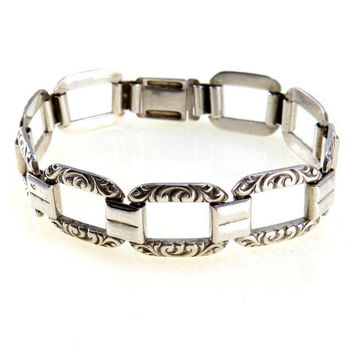 German Art Deco Kollmar & Jourdan 835 Silver Carved Link Bracelet