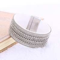 New arrival Women Punk Fashion Handmade Alloy Chain Crystal Multilayer Wide Magnetic Leather bracelets&bangles Jewelry femenino
