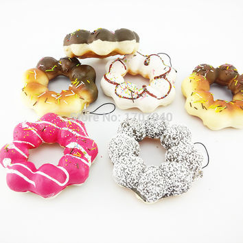10CM Jumbo Flower Sweet Roll Squishy Charms Phone Chocolate Covered Soft Donuts Straps Toys