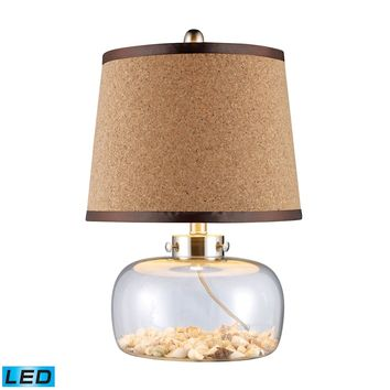 D1981-LED Margate LED Table Lamp In Clear Glass With Shells And Natural Cork Shade