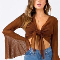 Portofino Tie Front Top Bronze | Princess Polly