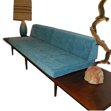 Mid Century Modern Daybed Sofa with Floating Side Tables