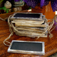 Set of 6 Rustic Wedding Chalk Board Tags..........Escort Cards....Table Numbers