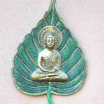 Green and Gold Bodhi Leaf Buddha Wall Art