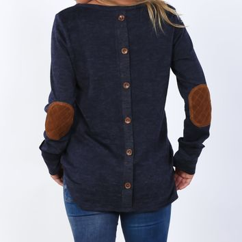 Quilted Elbow Patch Tunic   S-XL