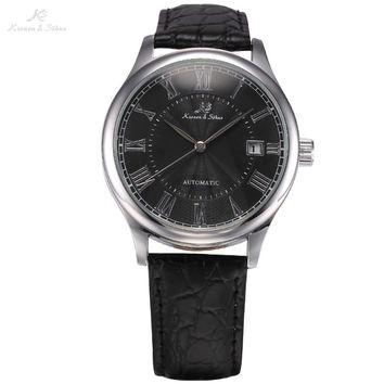 Automatic Watch with Black Leather Band