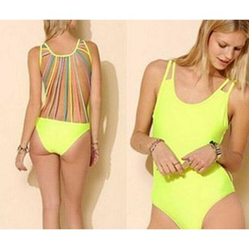 Yellow strappy backless swimsuit piece suit  bikini set swimsuit