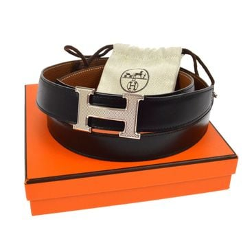 Auth HERMES Vintage H Logos Buckle Constance Reversible Belt Leather BT12015