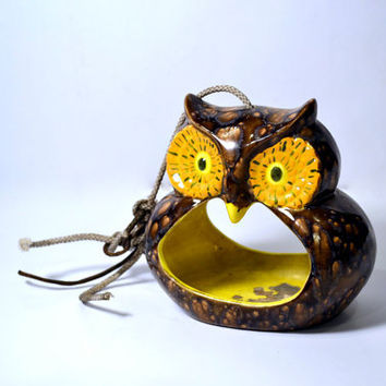 Hanging Owl Tea light Candle Holder Whimsical by BananasDesign