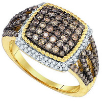 Cognac Diamond Fashion Ring in 10k Gold 1.06 ctw