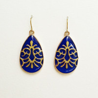 Blue Earrings, Blue Teardrop Earrings with Gold Arabesque, Deep Blue Large Teardrop Earrings, Resin Jewelry, Hypoallergenic, For Her