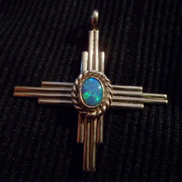 Authentic Navajo,Native American,Southwestern sterling silver opal Zia sun symbol pendant/necklace.
