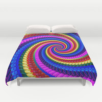 Rainbow Fractal Art Swirl Pattern Duvet Cover by Hippy Gift Shop
