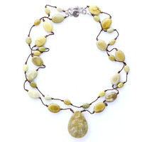 Petit Yellow Turquoise Necklace Knotted on Silk Cord, Sterling Silver Clasp, Smooth Oval Turquoise Beads, Southwestern Style, Organic Stone