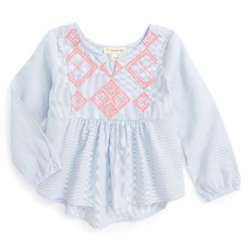 Tucker + Tate Embroidered High/Low Top (Toddler Girls, Little Girls & Big Girls) | Nordstrom