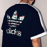 ADIDAS Camouflage Logo Big Men Sleeve Three Stripe Men Tee Shirt Top B-AA-XDD Black