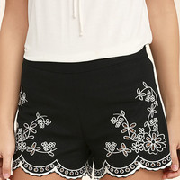 Lookout Point Black Embroidered Shorts
