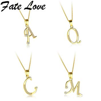 Fate Love Fashion Letter Initial Necklace Pendant Gold Color Copper Alphabet Tiny Beads Choker Necklace Women Jewelry Gift FL660