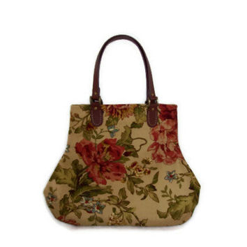 Floral Handbag Purse Tan/Olive Green/Dusty Red/Gold