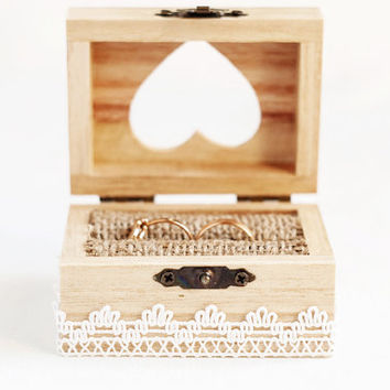Wooden wedding box with a white lace trim - Ring bearer box, lace trim, romantic, rustic, ecofriendly