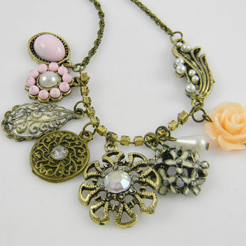 Romantic Victorian Style Multiple Charms Necklace Pearls Roses Flowers and Rhinestones