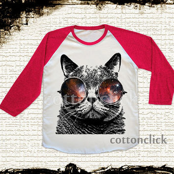 S, M, L - GALAXY CAT Glasses T-Shirts Cat T-Shirts Galaxy T-Shirts Animal T-Shirts Baseball Tee Raglan Red Sleeve Tee Unisex Women T-Shirts