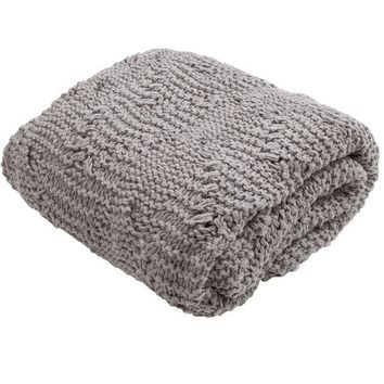 Favorite Grey Cable Knit Throw