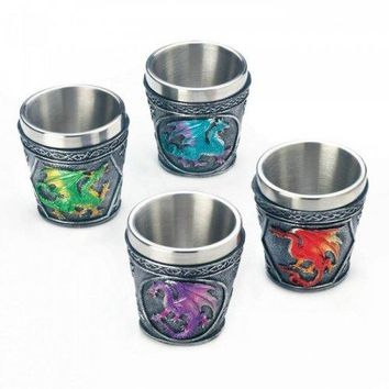 Mythical Dragons Shot Glass Set Of 4 (pack of 1 SET)
