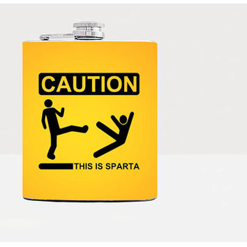 This is sparta hip flask-Gift for him, for her-Hip flask-Unique gift for men-Flask-Funny gift-Orange-21st birthday-Alcohol-Whiskey