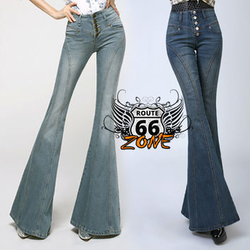 Vintage Button Fly Flare Women's Jeans