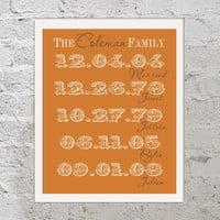 Personalized Family Name and Birthdate Family Tree Orange Gray Sign Wooden Custom Plaque Decor Anniversary Housewarming  Gift Sign Wood Art
