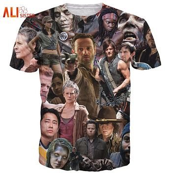 Alisister Funny The Walking Dead T-Shirt Men Women Rick Grimes Carl Daryl Michonne Zombies 3d Tee Tops Summer Style T Shirt