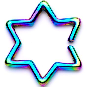 "16 Gauge 5/16"" Rainbow Hexagram Star of David Closure Ring"