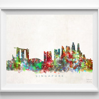 Singapore Skyline Print, Singapore Print, Singapore Poster, Cityscape, Wall Decor, City Skyline, Living Room Decor, Christmas Gift