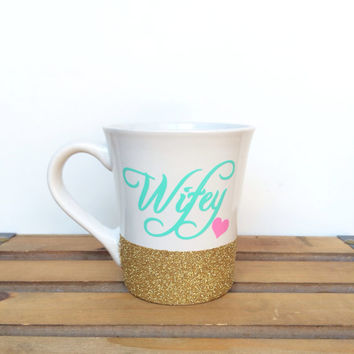 Wifey //Personalized Coffee Cup//Glitter Dipped Coffee Mug//Stoneware Coffee Mug//Personalized Coffee Mug