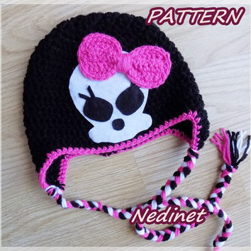 Monster High skull crochet hat PATTERN, pdf pattern, crochet hat pattern, girl hat pattern, haloween hat pattern