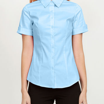 LE3NO Womens Short Sleeve Button Down Shirt with Stretch