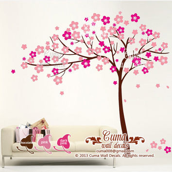 girl wall decal tree Sticker Nature Tree Wall decals Nursery wall decal- floral tree cherry blossom Z117 by cuma