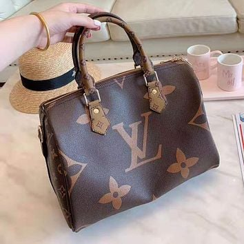 Louis Vuitton High Quality Women Fashion Leather Satchel Shoulder Bag Handbag Crossbody Coffee