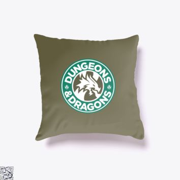 Starbucks Parody Mashup, Dragon And Dungeon Throw Pillow Cover