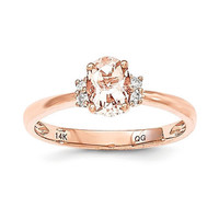 14k Rose Gold Oval Morganite & Diamond Ring