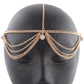 Goldtone with Clear Studded Adjustable Head Chain